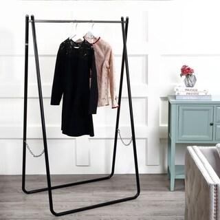 """happimess Noah Folding 63.7"""" Metal Garment Rack, Black/Chrome"""