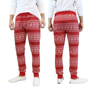 Galaxy By Harvic Men's Red Snowflake Printed Christmas Ugly Holiday Joggers