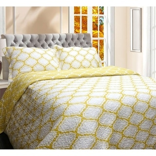 DriftAway 3 Piece Geometric Quilt Set/ Coverlets, 100% Cotton Cover