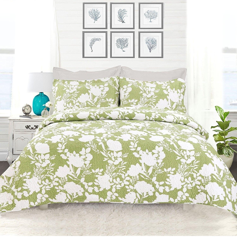 DriftAway 3 Piece Floral Delight Reversible Quilt Set, 10...