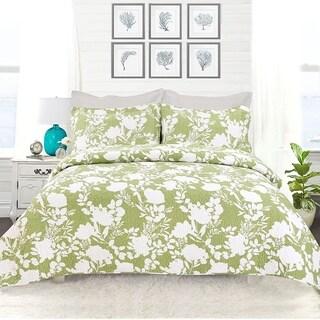 DriftAway 3 Piece Floral Delight Reversible Quilt Set, 100% Cotton