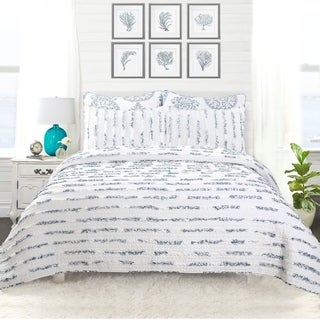 DriftAway 3 Piece Ruffle Reversible Quilt, Hand Crafted, 100% Cotton