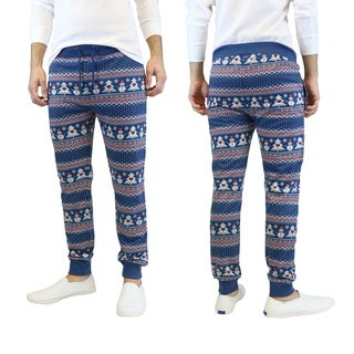 Galaxy By Harvic Men's Blue Snowman Printed Christmas Ugly Holiday Joggers