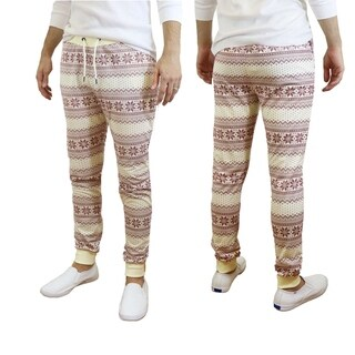 Galaxy By Harvic Men's White Snowflake Printed Christmas Ugly Holiday Joggers