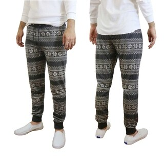 Galaxy By Harvic Men's Black Snowflake Printed Christmas Ugly Holiday Joggers