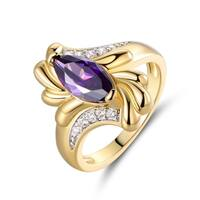 Marquis-Cut Amethyst Quartz Gold Plated Engagement Ring