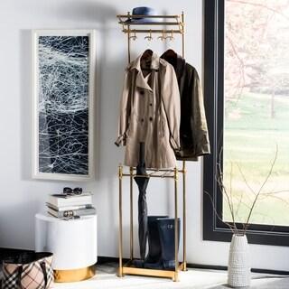 "happimess Tenley 80"" 4-Hook Coat Rack with Umbrella Stand, Brass"