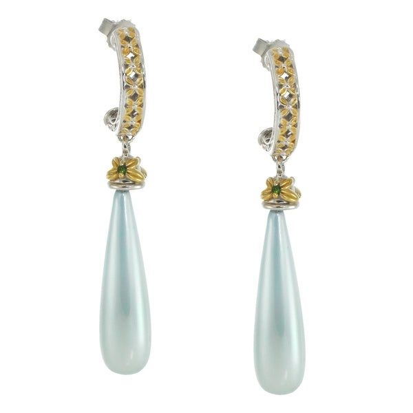 Michael Valitutti Palladium Silver Blue Mother Of Pearl Chrome Diopside Earrings