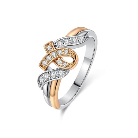 Gold Plated Two Gold & Cubic Zirconia Ribbon Ring