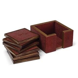 Shagreen Sangria Red Wood Coaster Set