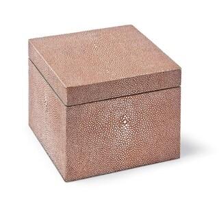 Coral Shagreen Square Box
