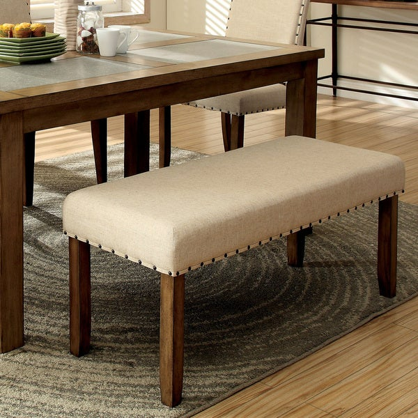 Furniture of America Rick Contemporary Beige Linen Nailhead Bench. Opens flyout.