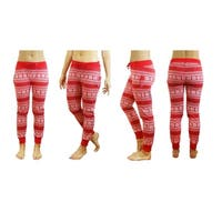 Galaxy By Harvic Women's Red Snowflake Printed Christmas Ugly Holiday Joggers