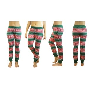 Galaxy By Harvic Women's Green Snowflake Printed Christmas Ugly Holiday Joggers