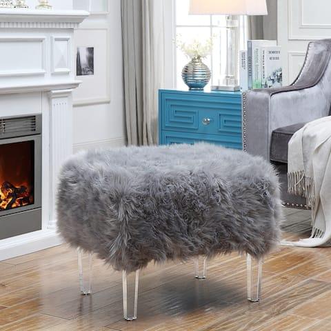 Marlene Luxe Faux Fur Acrylic Leg Ottoman