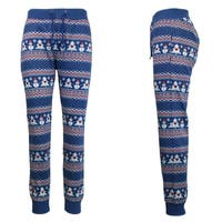 Galaxy By Harvic Women's Blue Snowman Printed Christmas Ugly Holiday Joggers