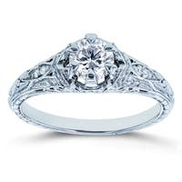Annello by Kobelli 14k White Gold 5/8ct TDW Diamond 6-Prong Antique Engagement Ring