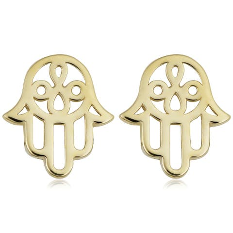 Fremada 14k Yellow Gold Hamsa Stud Earrings