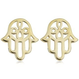 Fremada 14k Yellow Gold Hamsa Stud Earrings