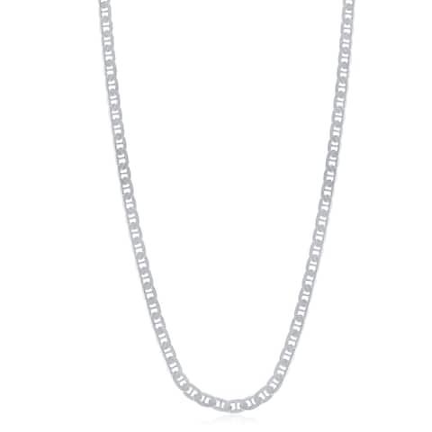 La Preciosa Sterling Silver Italian Rhodium Plated 80 3.5mm Flat Marina Chain
