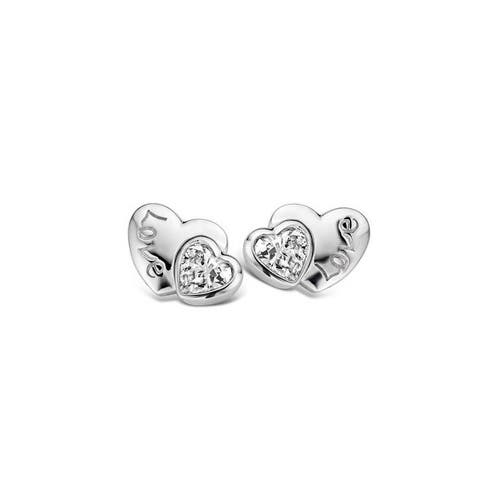 Kipling Children Sterling Silver Heart Love Cz Earrings