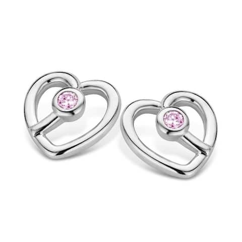 Kipling Children Sterling Silver Heart Pink Cz Earrings