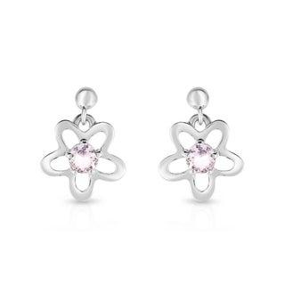 Kipling Children Sterling Silver Heart Pink Cz Earring