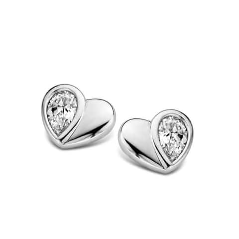 Kipling Children Sterling Silver Heart Cz Earrings