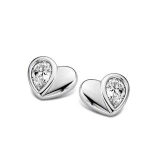 Kipling Children Sterling Silver Heart Cz Earrings
