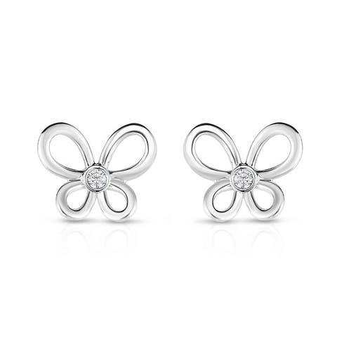 Kipling Children Sterling Silver Buterfly Cz Earrings