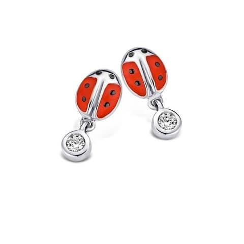 Kipling Children Sterling Silver Ladybug Cz Earrings