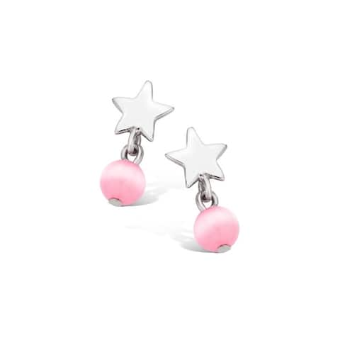 Kipling Children Sterling Silver Star Pink Ball Earrings