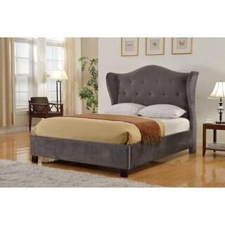 Best Master Furniture Gray Upholstered Platform WingBack Bed
