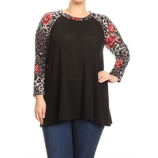 Women's Plus Size Leopard Floral Pattern Sleeves Tunic