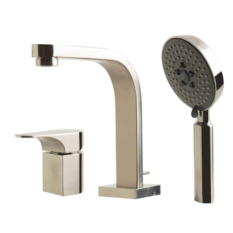 ALFI brand AB2703-BN Brushed Nickel Deck Mounted Tub Filler and Round Hand Held Shower Head - Silver