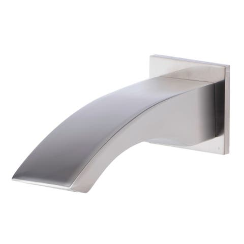 ALFI brand AB3301-BN Brushed Nickel Curved Wallmounted Tub Filler Bathroom Spout - Silver