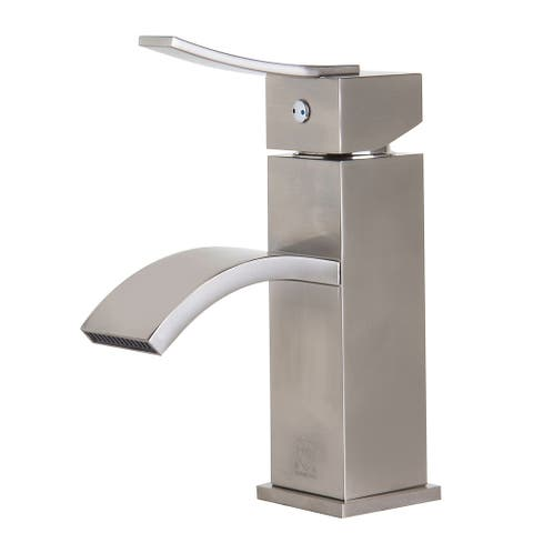 ALFI brand AB1258-BN Brushed Nickel Square Body Curved Spout Single Lever Bathroom Faucet - Silver