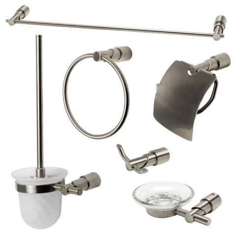 ALFI brand AB9508-BN Brushed Nickel 6 Piece Matching Bathroom Accessory Set