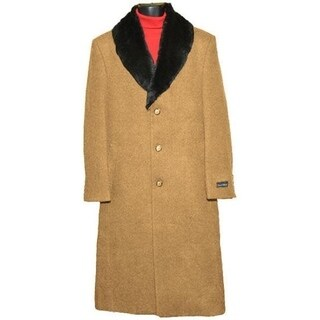 Men's Camel Casual Wear Long Overcoat with Luxurious Fur Collar