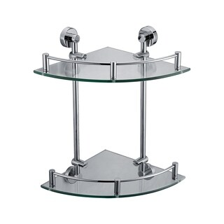 ALFI brand AB9548 Polished Chrome Corner Mounted Double Glass Shower Shelf Bathroom Accessory