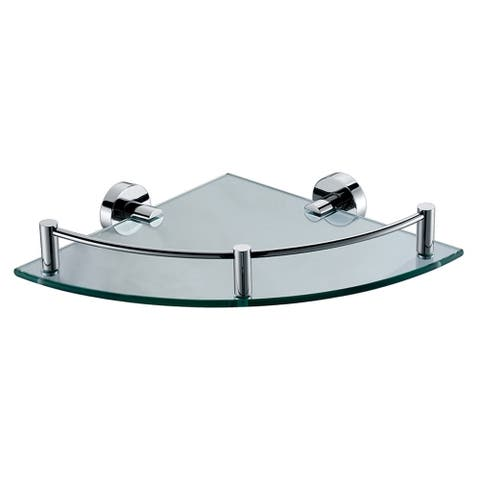 Alfi Brand AB9546 Polished Chrome Corner Mounted Glass Shower Shelf Bathroom Accessory