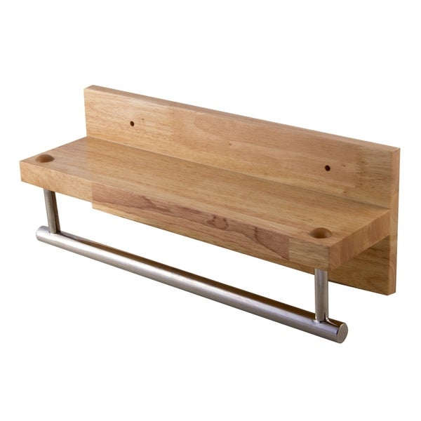Shop Alfi Brand Ab5511 16 Wooden Shelf With Chrome Towel Bar
