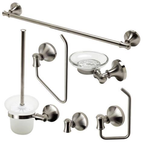 ALFI brand AB9521-BN Brushed Nickel 6 Piece Matching Bathroom Accessory Set