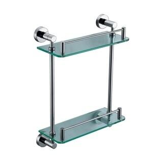 ALFI brand AB9549 Polished Chrome Wall Mounted Double Glass Shower Shelf Bathroom Accessory