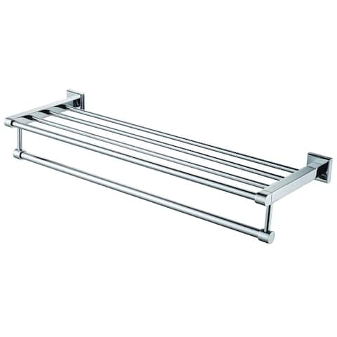 ALFI brand AB9596 Polished Chrome 24 inch Towel Bar & Shelf Bathroom Accessory