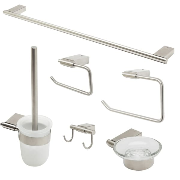 ALFI brand AB9515-BN Brushed Nickel 6 Piece Matching Bathroom Accessory Set. Opens flyout.