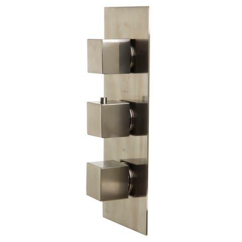 ALFI brand AB2901-BN Brushed Nickel Concealed 4-Way Thermostatic Valve Shower Mixer /w Square Knobs - Silver