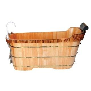 "ALFI brand AB1148 59"" Free Standing Wooden Bathtub with Chrome Tub Filler"