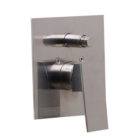 ALFI brand AB5601-BN Brushed Nickel Shower Valve Mixer with Square Lever Handle and Diverter - Silver