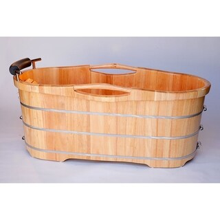 "ALFI brand AB1163 61"" Free Standing Wooden Bathtub with Cushion Headrest"
